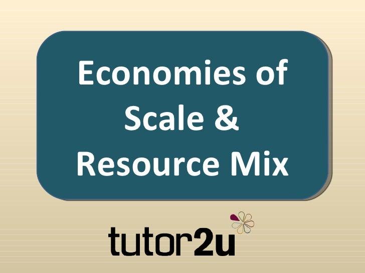 Economies of Scale & Resource Mix