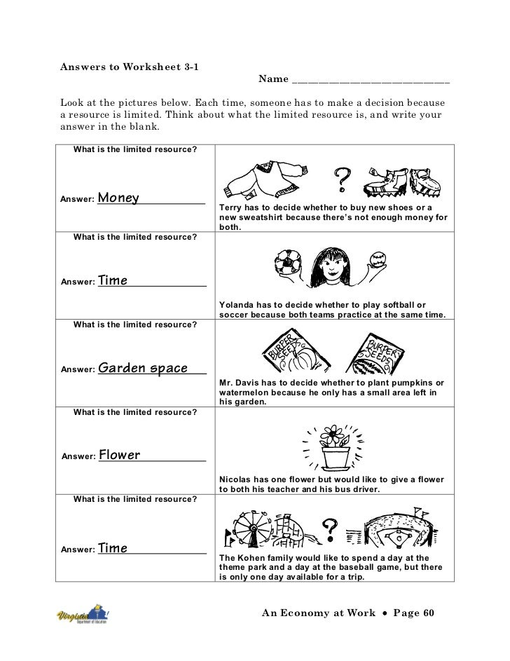Economy at work – Economic Worksheets