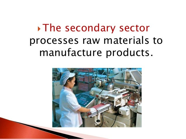  The secondary sector processes raw materials to manufacture products.