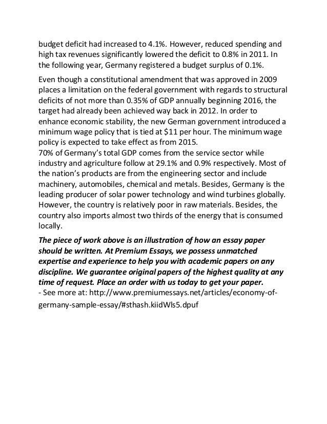 Economy of germany sample essay