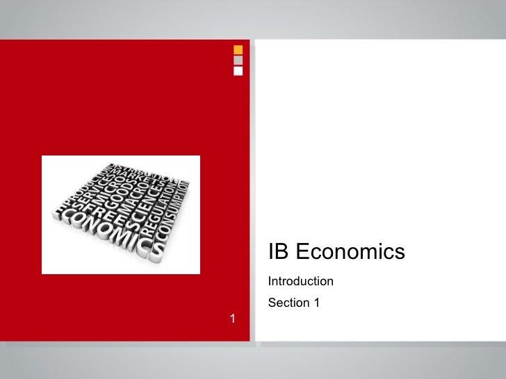 IB Economics Introduction Section 1