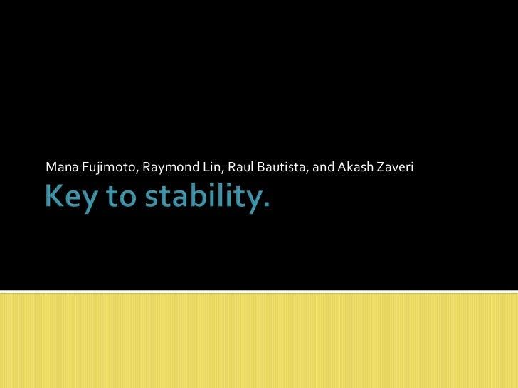 Mana Fujimoto, Raymond Lin, Raul Bautista, and AkashZaveri<br />Key to stability.<br />