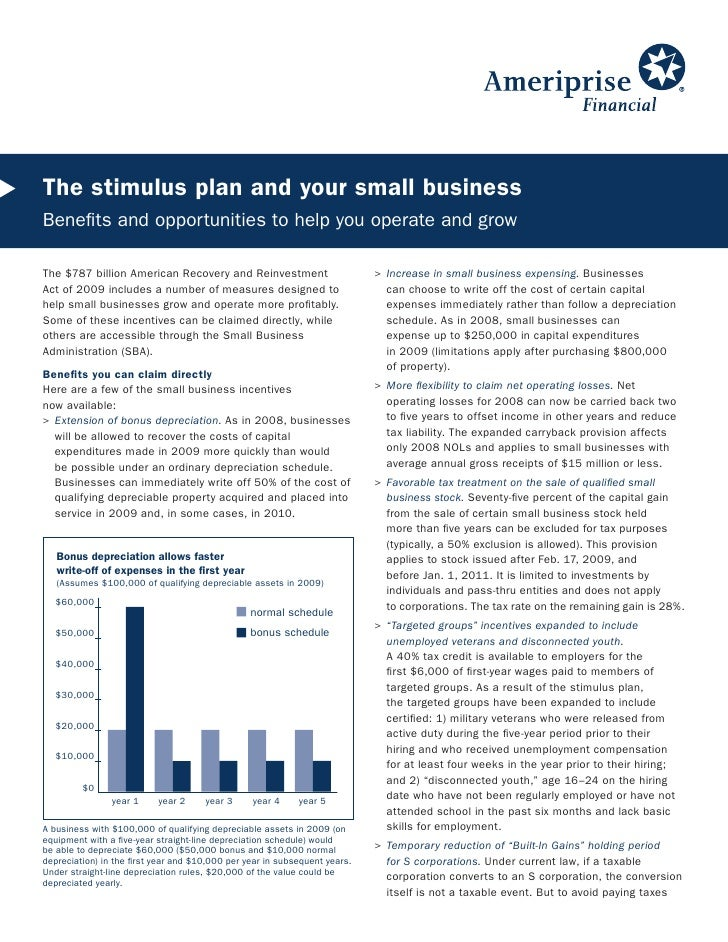 The stimulus plan and your small business Benefits and opportunities to help you operate and grow  The $787 billion Americ...