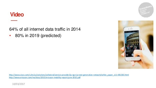 Video 64% of all internet data traffic in 2014 • 80% in 2019 (predicted) 10/03/2017 http://www.cisco.com/c/en/us/solutions...