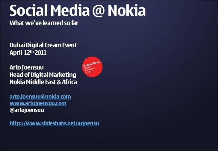 Social Media @ Nokia: What we've learned so far