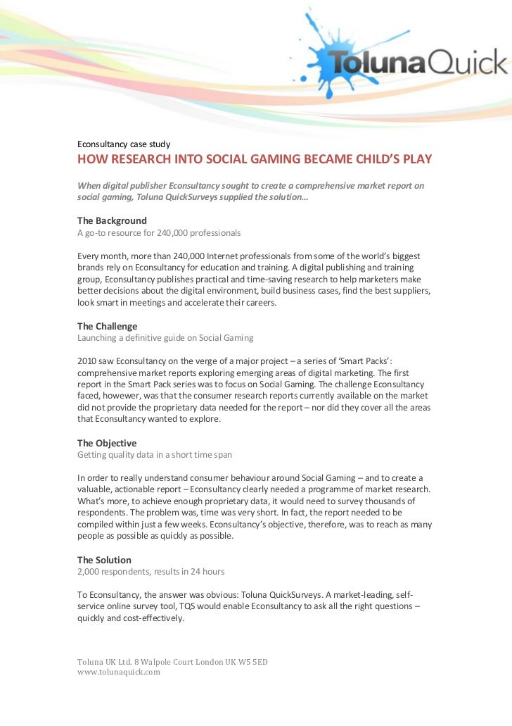 Econsultancy case studyHOW RESEARCH INTO SOCIAL GAMING BECAME CHILD'S PLAYWhen digital publisher Econsultancy sought to cr...