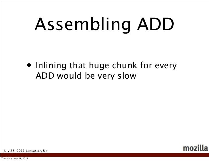 Assembling ADD                     • Inlining that huge chunk for every                          ADD would be very slow Ju...