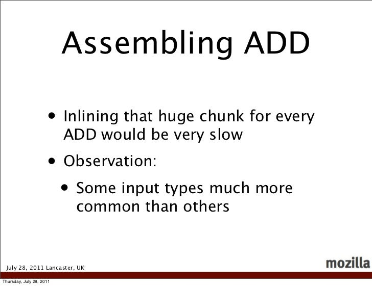 Assembling ADD                     • Inlining that huge chunk for every                          ADD would be very slow   ...