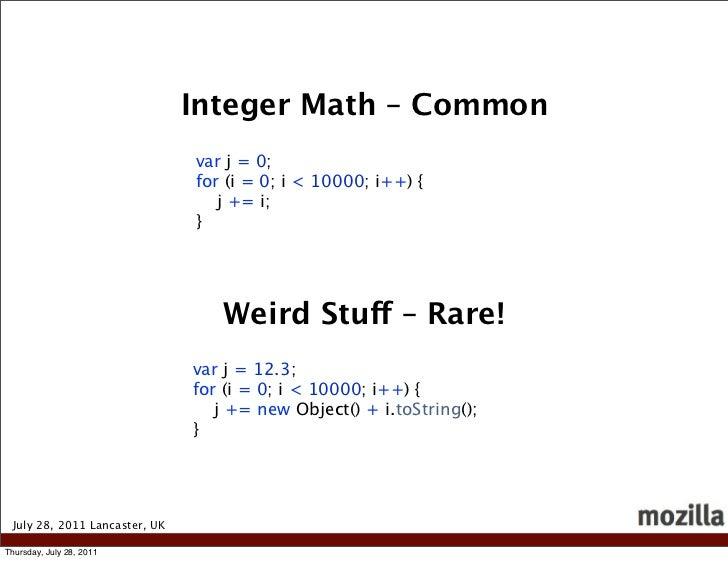 Integer Math – Common                               var j = 0;                               for (i = 0; i < 10000; i++) {...