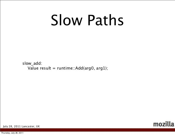 Slow Paths                     slow_add:                        Value result = runtime::Add(arg0, arg1); July 28, 2011 Lan...
