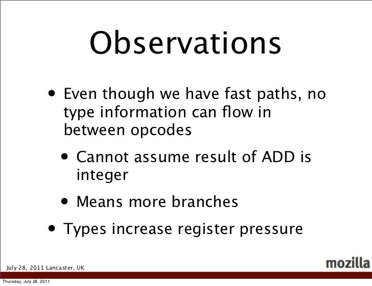 Observations                     • Even though we have fast paths, no                          type information can flow in...