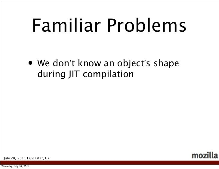 Familiar Problems                     • We don't know an object's shape                          during JIT compilation Ju...