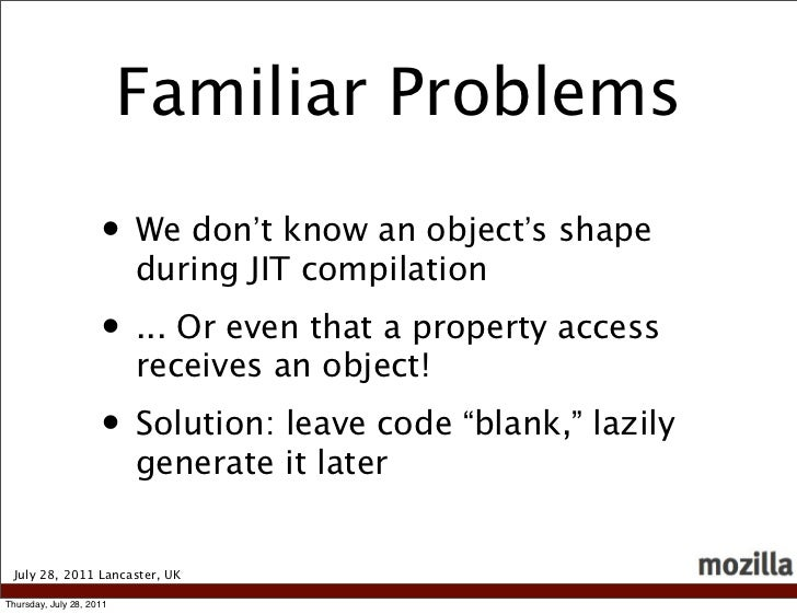 Familiar Problems                     • We don't know an object's shape                          during JIT compilation   ...