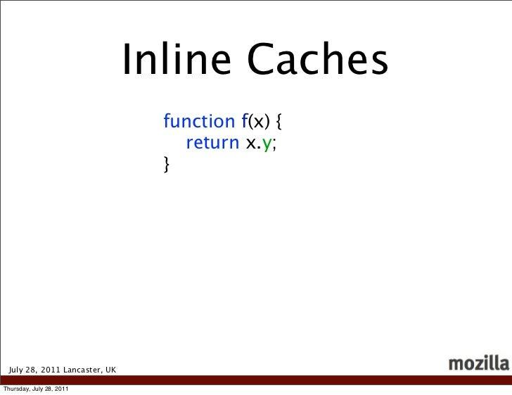 Inline Caches                                 function f(x) {                                   return x.y;               ...