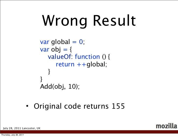 Wrong Result                             var global = 0;                             var obj = {                          ...