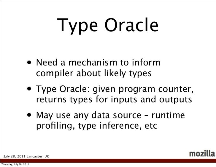 Type Oracle                    • Need a mechanism to inform                          compiler about likely types          ...