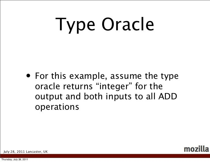 """Type Oracle                    • For this example, assume the type                          oracle returns """"integer"""" for t..."""