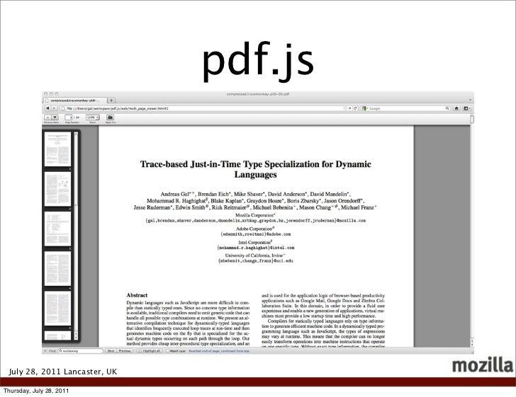 pdf.js July 28, 2011 Lancaster, UKThursday, July 28, 2011