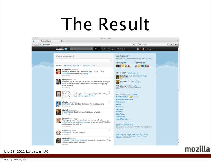 The Result July 28, 2011 Lancaster, UKThursday, July 28, 2011