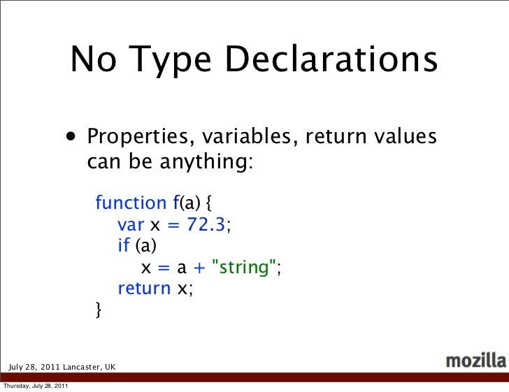 No Type Declarations                     • Properties, variables, return values                          can be anything: ...