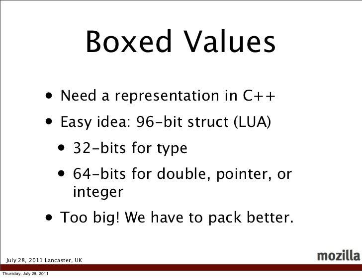 Boxed Values                    • Need a representation in C++                    • Easy idea: 96-bit struct (LUA)        ...