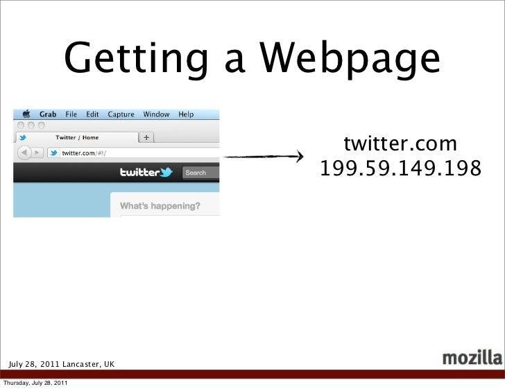 Getting a Webpage                                  twitter.com                                199.59.149.198 July 28, 2011...
