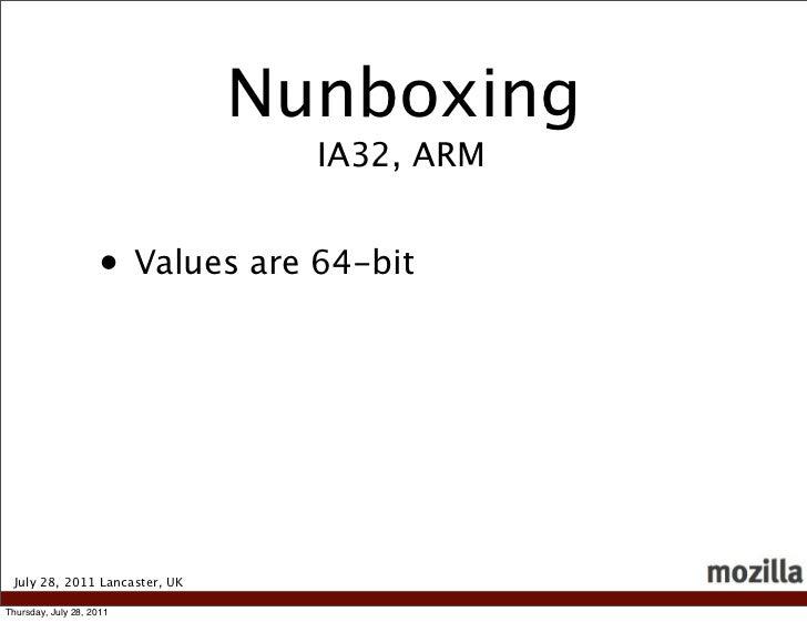 Nunboxing                                 IA32, ARM                    • Values are 64-bit July 28, 2011 Lancaster, UKThur...
