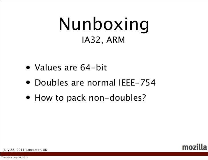 Nunboxing                                 IA32, ARM                    • Values are 64-bit                    • Doubles ar...