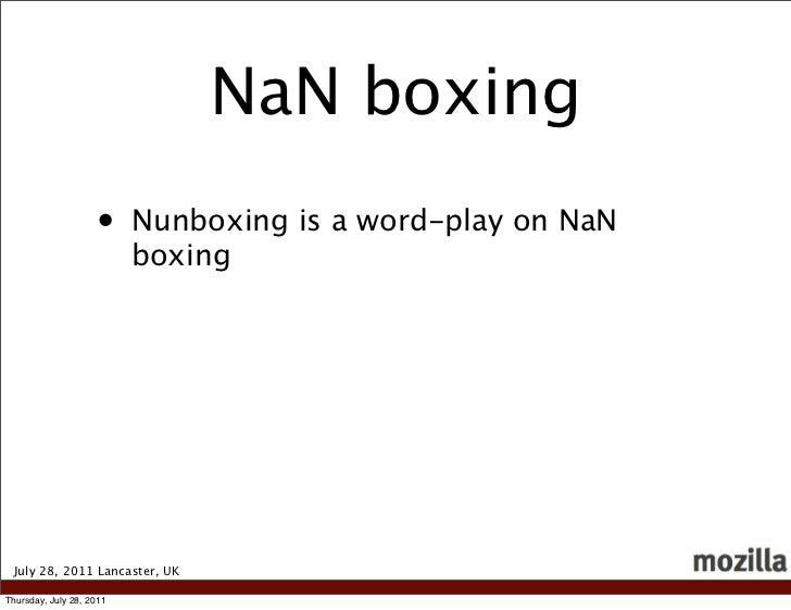 NaN boxing                    •     Nunboxing is a word-play on NaN                          boxing July 28, 2011 Lancaste...