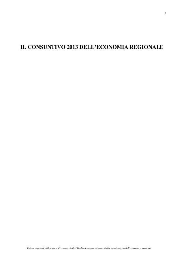 Unione regionale delle camere di commercio dell'Emilia-Romagna – Centro studi e monitoraggio dell'economia e statistica. 1...