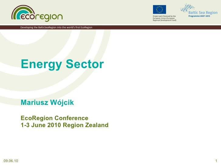 Energy Sector Mariusz Wójcik EcoRegion Conference 1-3 June 2010 Region Zealand 09.06.10