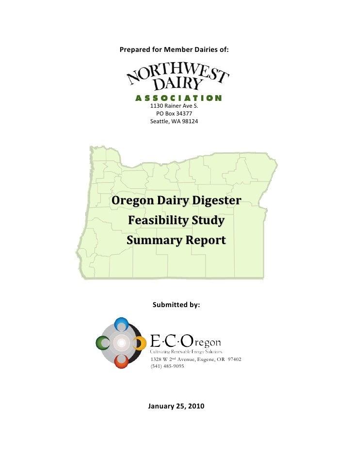 Prepared for Member Dairies of:              1130 Rainer Ave S.            PO Box 34377          Seattle, WA 98124     Ore...