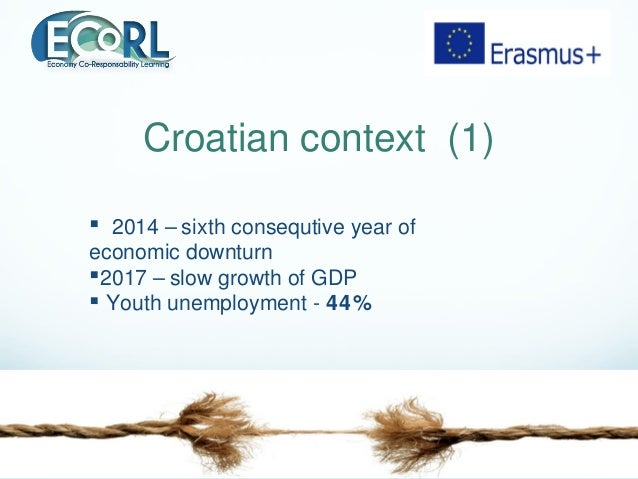 Croatian context (1)  2014 – sixth consequtive year of economic downturn 2017 – slow growth of GDP  Youth unemployment ...