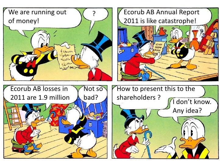 We are running out       ?        Ecorub AB Annual Reportof money!                         2011 is like catastrophe!Ecorub...