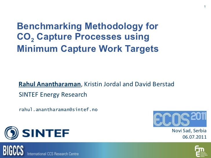 Benchmarking Methodology for  CO 2  Capture Processes using  Minimum Capture Work Targets Rahul Anantharaman , Kristin Jor...
