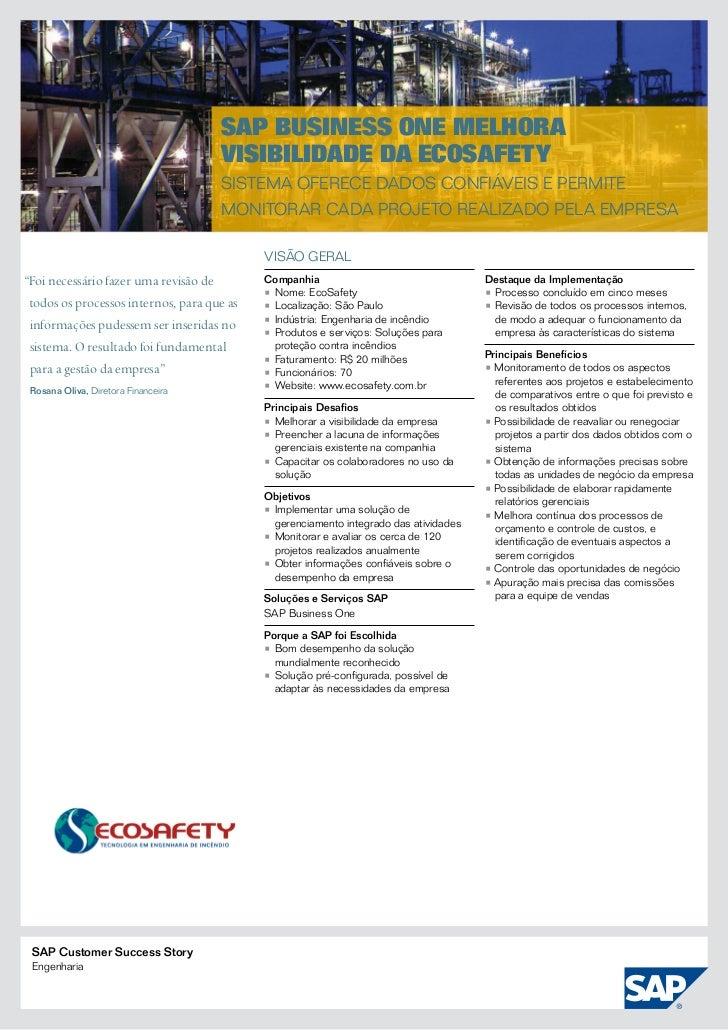 SAP Business One melhora                                     visibilidade da EcoSafety                                    ...