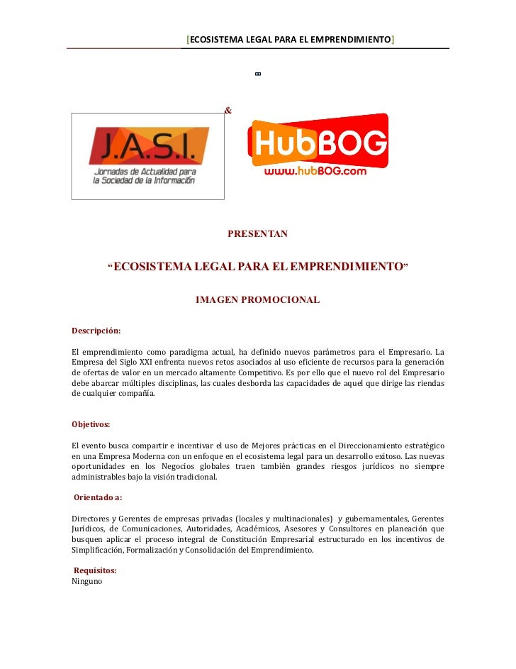 May 13, 2011    [ECOSISTEMA LEGAL PARA EL EMPRENDIMIENTO]                                          &                      ...