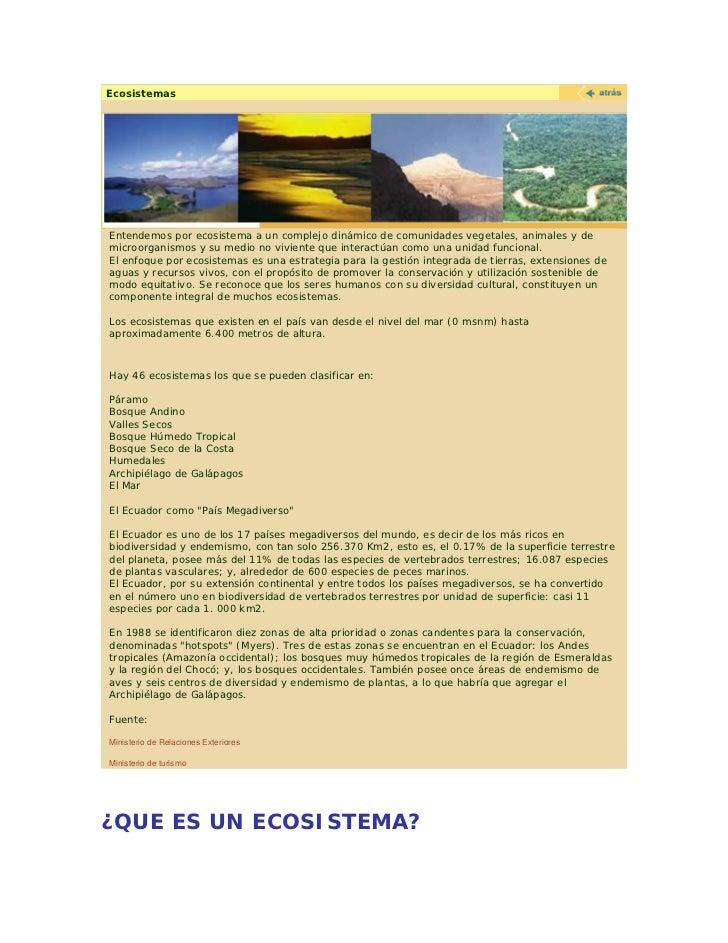 Ecosistemas     Entendemos por ecosistema a un complejo dinámico de comunidades vegetales, animales y de microorganismos y...