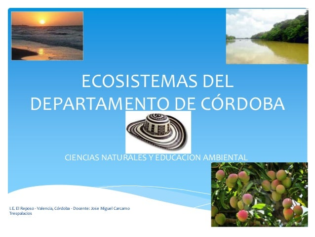 ECOSISTEMAS DEL DEPARTAMENTO DE CÓRDOBA CIENCIAS NATURALES Y EDUCACION AMBIENTAL I.E. El Reposo - Valencia, Córdoba - Doce...