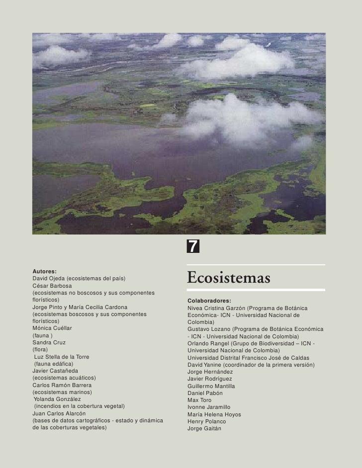 7Autores:David Ojeda (ecosistemas del país)César Barbosa                                                    Ecosistemas(ec...