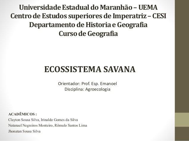UniversidadeEstadualdo Maranhão–UEMA CentrodeEstudos superioresde Imperatriz–CESI Departamentode Historiae Geografia Curso...