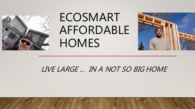 ECOSMART AFFORDABLE HOMES LIVE LARGE ... IN A NOT SO BIG HOME