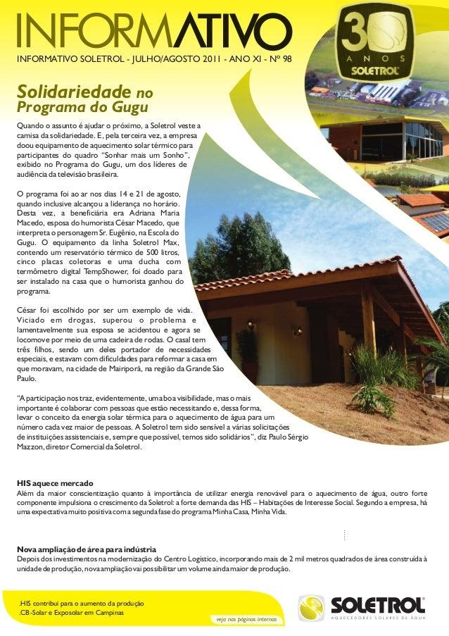 veja nas páginas internas .HIS contribui para o aumento da produção .CB-Solar e Exposolar em Campinas Solidariedade no Pro...