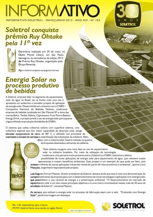 INFORMATIVO SOLETROL - MAIO/JUNHO 2012 - ANO XIV - Nº 103