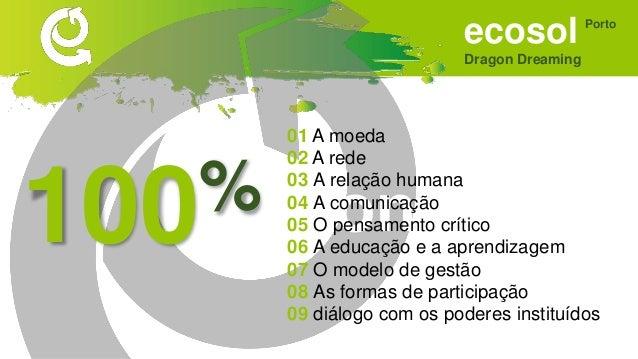 ecosol Dragon Dreaming Porto Sonhar • Ponto de união de vários projectos. • Que promova a interação/sociabilização entre a...