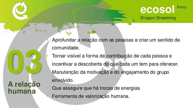 ecosol Dragon Dreaming Porto Sonhar • Criar uma proposta de interferência positiva com os novos membros. • Focar mais, enq...