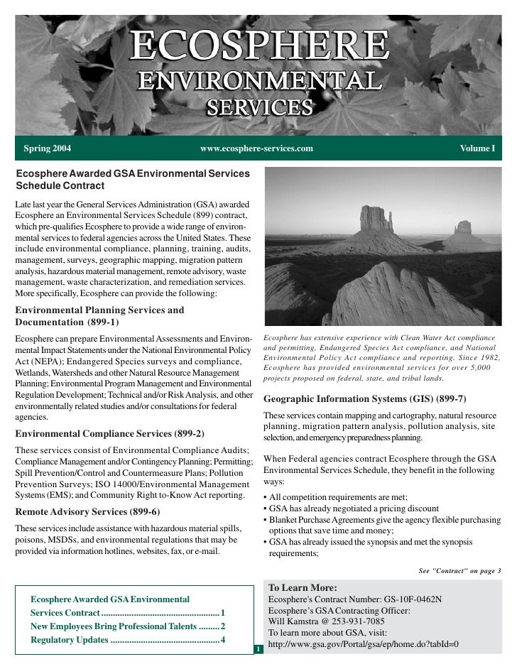 Spring 2004                                                    www.ecosphere-services.com                                 ...