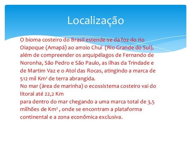 O bioma costeiro do Brasil estende-se da foz do rio Oiapoque (Amapá) ao arroio Chuí (Rio Grande do Sul), além de compreend...