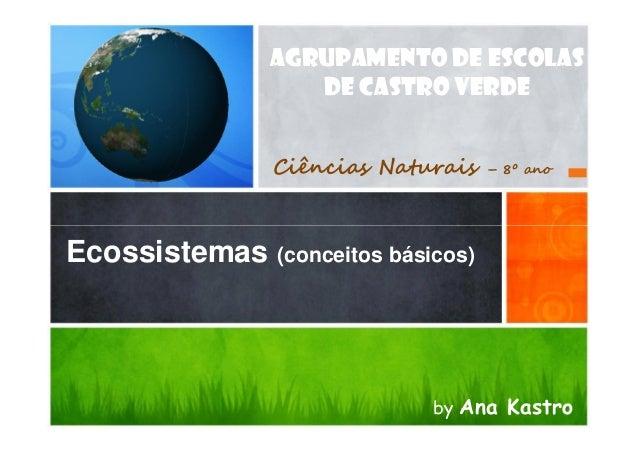 AGRUPAMENTO DE ESCOLAS DE CASTRO VERDE Ciências Naturais  – 8º ano  Ecossistemas (conceitos básicos)  by Ana Kastro