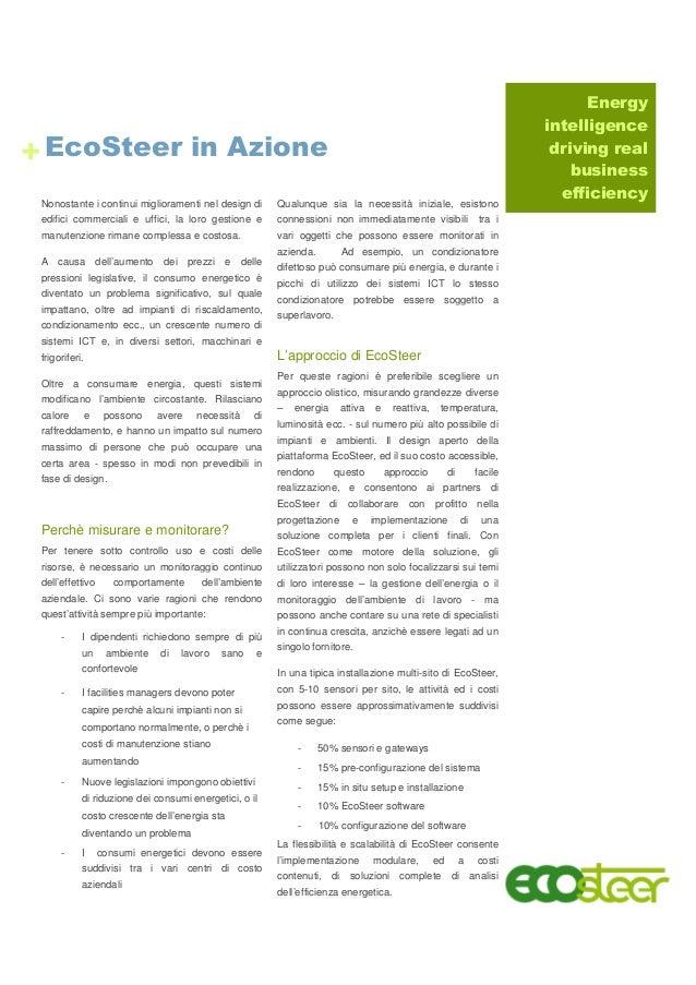 Energy intelligence driving real business efficiency EcoSteer in Azione Nonostante i continui miglioramenti nel design di ...